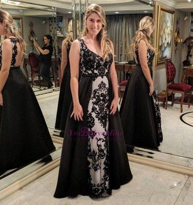 Sleeveless Black Appliques Sheath Open-Back Prom Dress_1
