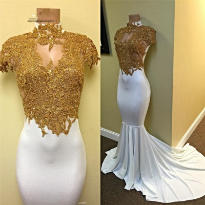 Gold and White Prom Dresses High Neck Lace Appliques Capped Sleeves Mermaid Evening Gowns_3