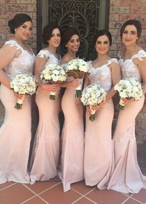 Blushing Pink Mermaid Bridesmaid Dresses Off-the-Shoulder Maid of the Honor Dress_1