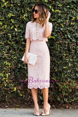 Lace Cute Pink Short-Sleeve Fashion Two-Piece Homecoming Dresses_1