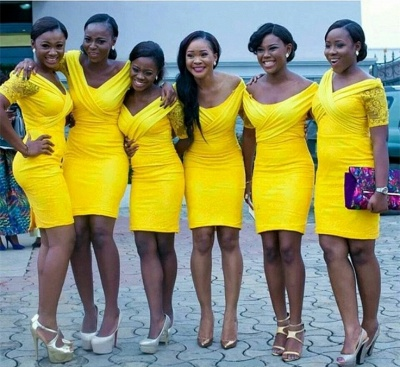 Lace Bodycon Yellow Sexy Off-the-shoulder Mini Bridesmaid Dress_3