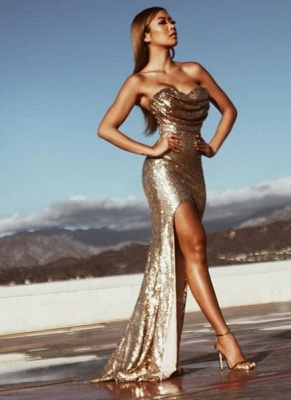 2019 Side Slit Prom Dresses Ruched Mermaid Gold Sleeveless Sexy Evening Gowns_2