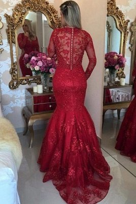 Luxury Mermaid Lace Evening Dresses | V-Neck Long Sleeves See Through Prom Dresses_3