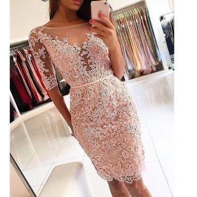 Elegant Appliques Scoop Sheath Homecoming Dresses | Half Long Sleeves Cocktail Dresses_3