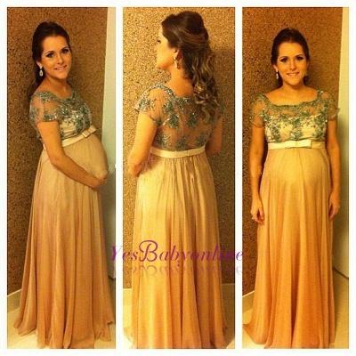 Beading Short-Sleeves Chiffon Bow Ball-Gown Floor-length Pregnant Prom Dress_1