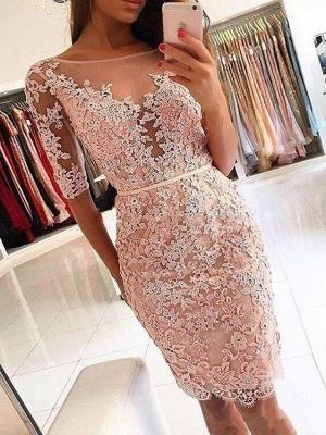Elegant Appliques Scoop Sheath Homecoming Dresses | Half Long Sleeves Cocktail Dresses_1