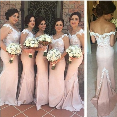 Blushing Pink Mermaid Bridesmaid Dresses Off-the-Shoulder Maid of the Honor Dress_2
