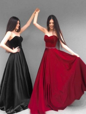 A-Line Sweetheart Strapless Long Bridesmaid Dress with Beadings_1