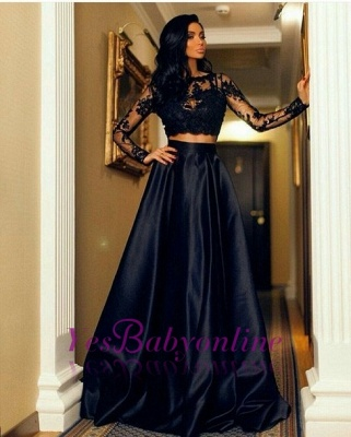 Two Piece  A-line Lace Black Long-Sleeve Prom Dress_1