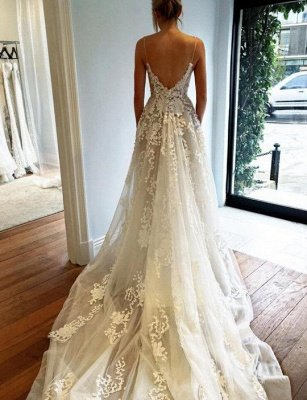 Straps A-line Spaghetti Tulle Lace-Applique Glamorous Wedding Dresses_3