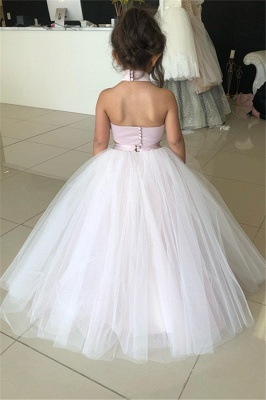 Two-Pieces Pink Flower Tulle Appliques Lovely Sweetheart Girl Dresses_3