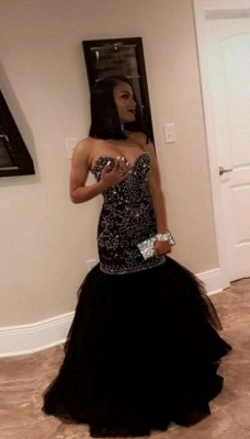 Sweetheart Strapless Mermaid Prom Dresses | Beading Tulle Black Evening Gowns_1