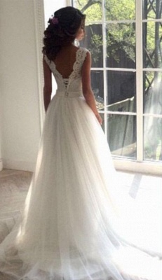 Long A-line Lace Tull Backless Wedding Dresses_3