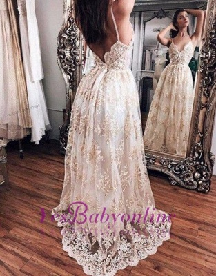 Lace Backless Newest Floor-Length Champagne Hot Evening Dress_1