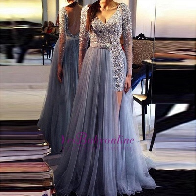 Chic Long-Sleeves Evening Dresses |  Beading Backless Prom Dresses_1