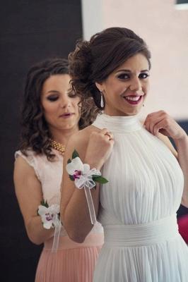 Elegant Long High-Neck Ruched White Prom Dress_3