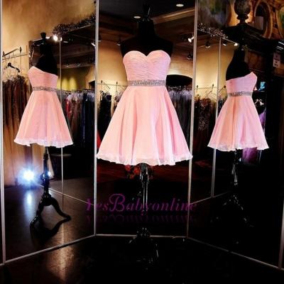 Cheap Short Sweetheart Simple Ruffles A-Line Crystal Homecoming Dress_1