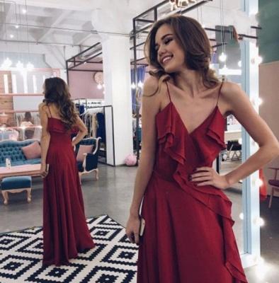2019 Burgundy Ruffles Prom Dresses Long A-line Semi Formal Gowns_3