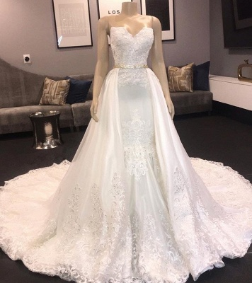 Strapless Sweetheart Mermaid Lace Wedding Dresses with Beads_2