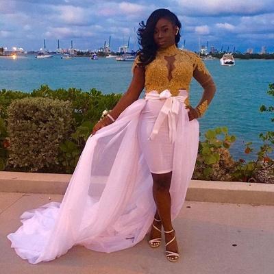 Long-Sleeves High-Neck Lace Detachable-Skirt Glamorous Gold Evening Dresses_3