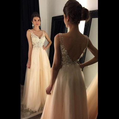 A-line Open-Back V-Neck Beaded Long Lace Champagne Prom Dresses_3