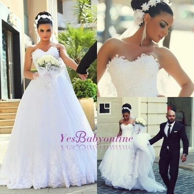 A-line Sweetheart Modern Sleeveless Lace Wedding Dress_1