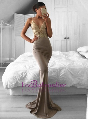 Mermaid Sexy Lace Sweep-Train Sleeveless Spaghetti-Strap Prom Dress_1