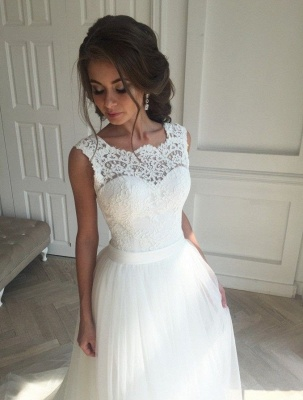 Long A-line Lace Tull Backless Wedding Dresses_2