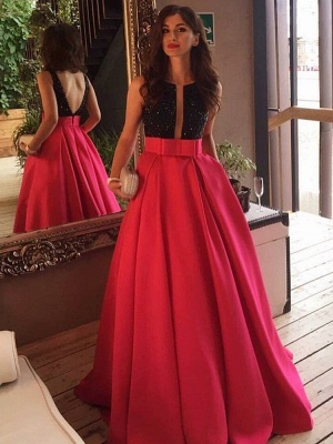 Sleeveless Neckline Black-red Scoop Prom Dress_3