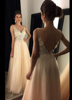 A-line Open-Back V-Neck Beaded Long Lace Champagne Prom Dresses_2