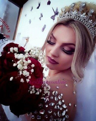 Princess Ball Gown Long Sleevess Brilliant Jewel Crystals Wedding Dresses_1