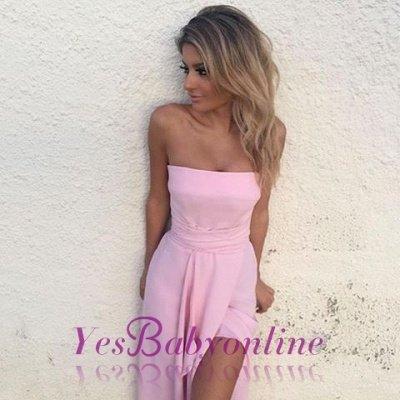 Elegant Sleeveless Pink Strapless Front-Split Chiffon Prom Dress_1