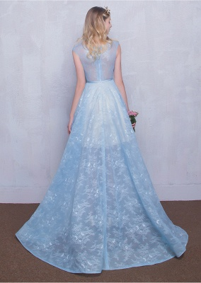 Fairy Sky-Blue Puffy Sheer Long Lace-Appliques A-line Prom Dresses_4