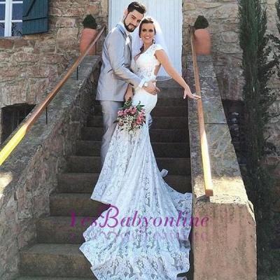 Open-Back Sleeveless V-Neck Glamorous Mermaid Lace Wedding Dress_1