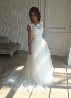 Long A-line Lace Tull Backless Wedding Dresses