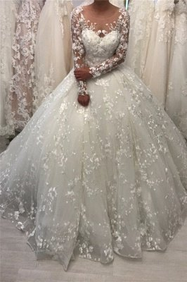 Round Neck Lace Ball Gown Vintage Wedding Dresses with Long Sleeves_1