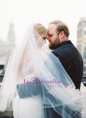 Glamorous Long-Sleeve White Zipper Off-the-shoulder Mermaid Lace Wedding Dress_1