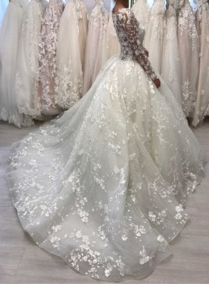 Round Neck Lace Ball Gown Vintage Wedding Dresses with Long Sleeves_2
