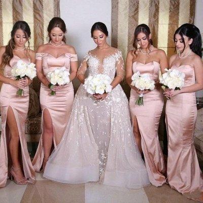 Sexy Side Slit Sweetheart Bridesmaid Dresses | Sleeveless Mermaid Wedding Guest Dresses_3
