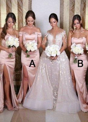Sexy Side Slit Sweetheart Bridesmaid Dresses | Sleeveless Mermaid Wedding Guest Dresses_1