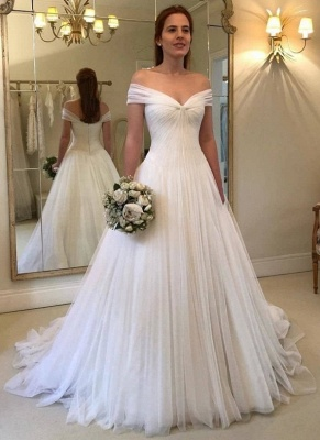 Simple A-Line Off-The-Shoulder Wedding Dresses | Ruched Tulle Bridal Gowns_1