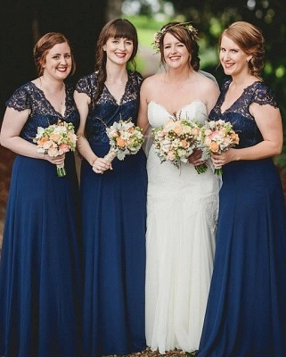 Romance Long Blue Lace Chiffon Navy Bridesmaid Dresses_2