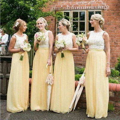 Sleeveless Chiffon Jewel Lace A-line Elegant Bridesmaid Dress_3