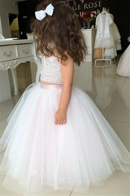 Two-Pieces Pink Flower Tulle Appliques Lovely Sweetheart Girl Dresses_4