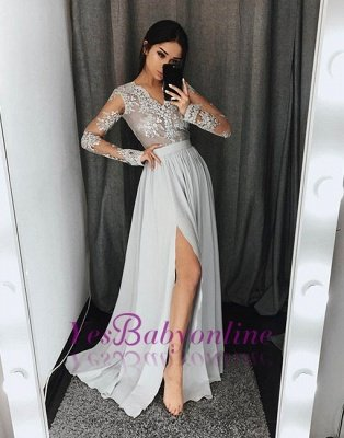 2019 Gray Prom Dresses Lace Long Sleeves Side Slit A-line Evening Gowns_1