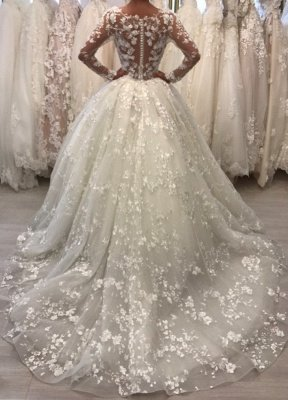 Round Neck Lace Ball Gown Vintage Wedding Dresses with Long Sleeves_3