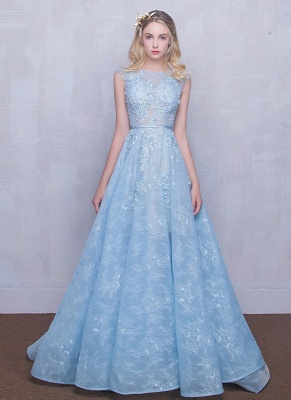 Fairy Sky-Blue Puffy Sheer Long Lace-Appliques A-line Prom Dresses_3