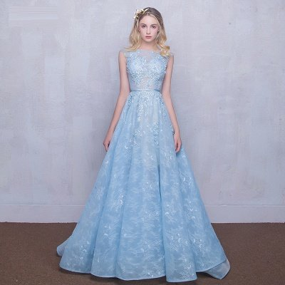 Fairy Sky-Blue Puffy Sheer Long Lace-Appliques A-line Prom Dresses_5