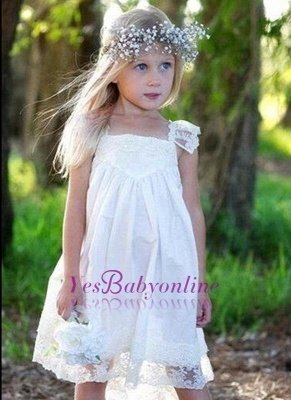 Capped-Sleeves Crisscross Back Cute Flower Girls Dresses_1