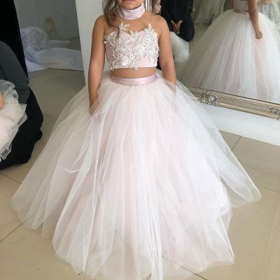 Two-Pieces Pink Flower Tulle Appliques Lovely Sweetheart Girl Dresses_5